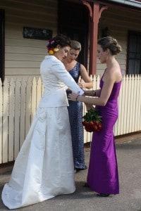 tuxedo mismatched bridesmaids