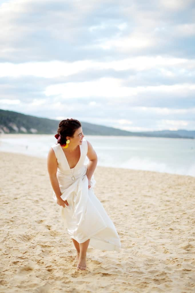 beach wedding plunge gown