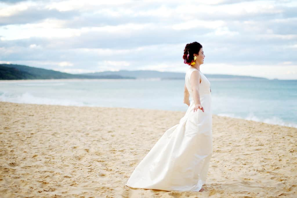 Beach wedding gown with train