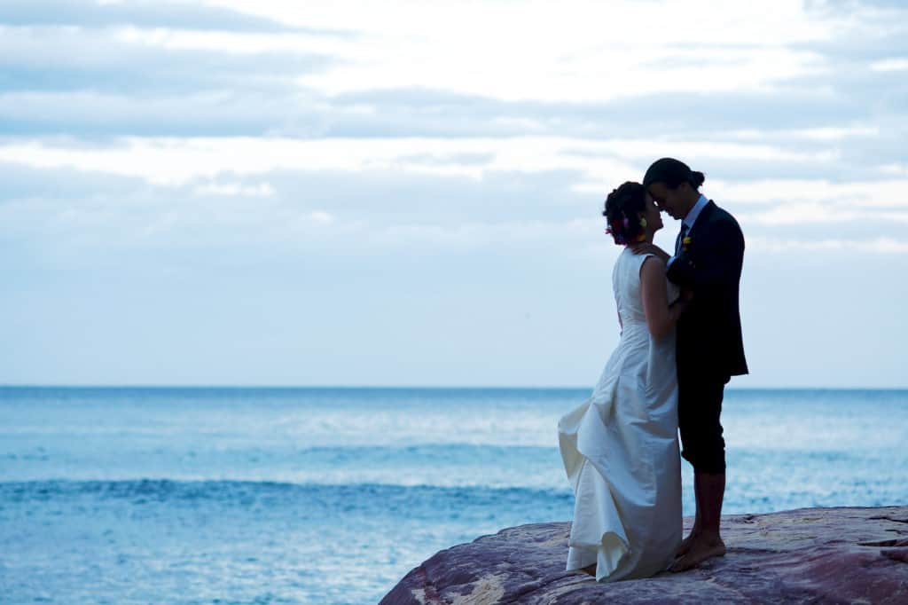 Clifftop wedding Bustle gown