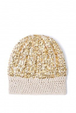 embellished sequin  beanie, perfect for a winter wedding