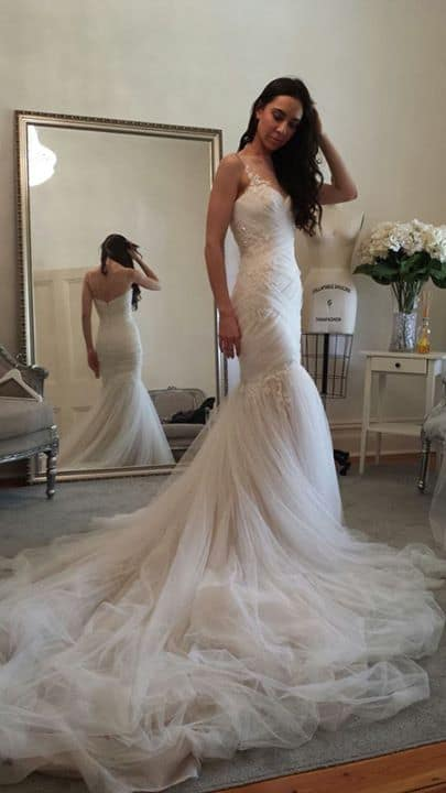 tulle fish tail gown