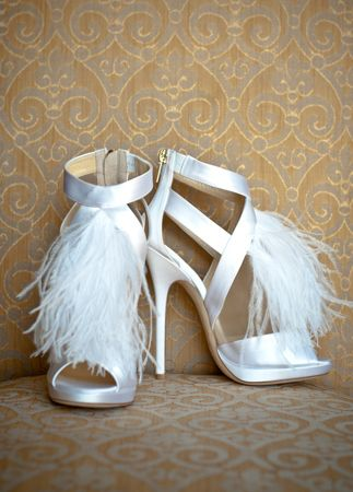 jummy choo feather wedding shoes