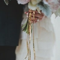 sequin ribbon on bouquet